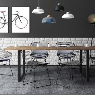 工業風金屬桌椅吊燈組合3D模型【ID:327793683】