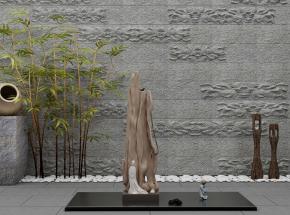 中式竹子根雕景观摆件组合3D模型【ID:127751837】