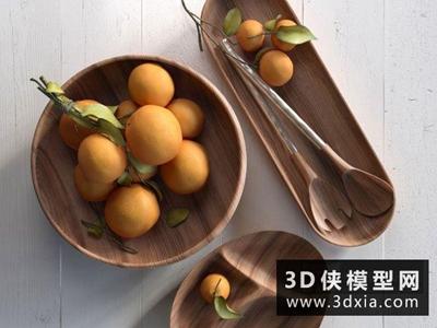 現代餐盤橘子組合國外3D模型【ID:929402506】