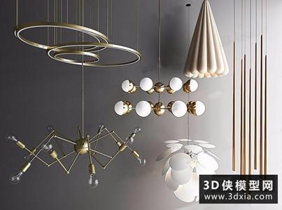 現代吊燈組合國外3D模型【ID:829344728】