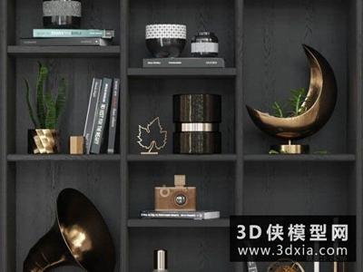 现代装饰品组合国外3D模型【ID:929349840】