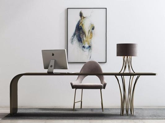 現代辦公桌椅組合3D模型【ID:427935110】