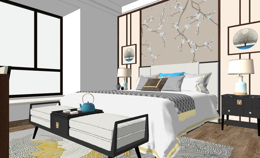 新中式客厅餐厅卧室室内设计SU模型【ID:936348867】
