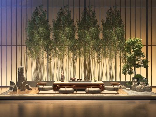 新中式禪意茶室桌椅組合3D模型【ID:327933698】