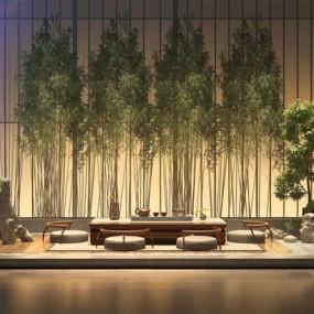 新中式禅意茶室桌椅组合3D模型【ID:327933698】