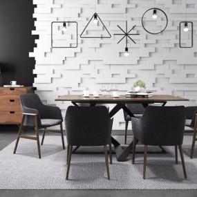 现代餐桌椅组合3D模型【ID:327924675】
