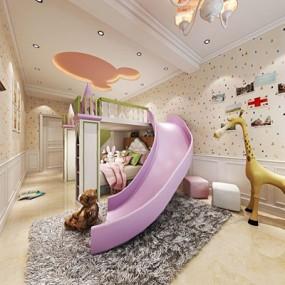 美式儿童房3D模型【ID:127864297】