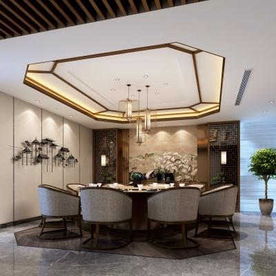 新中式餐廳包房3D模型【ID:328442615】