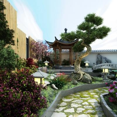 新中式庭院花园3D模型【ID:928563979】