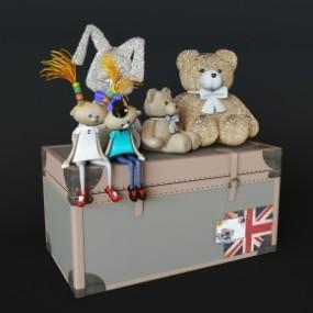 现代箱子布娃娃玩偶组合3D模型【ID:527796772】
