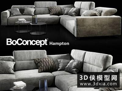 现代转角沙发国外3D模型【ID:729470646】