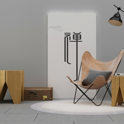 新中式沙發茶幾角幾落地燈擺件組合3D模型【ID:927836628】