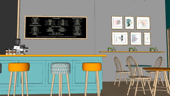 咖啡店/咖啡SU模型【ID:539505437】