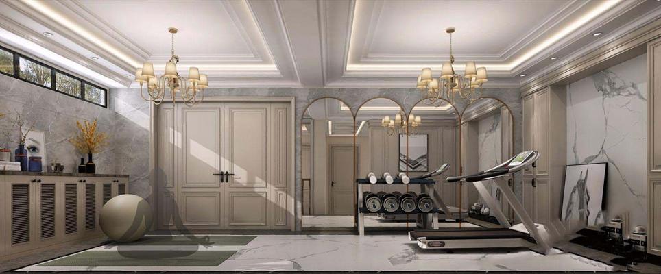 美式健身房3D模型【ID:928194642】