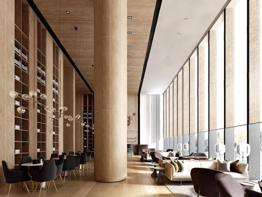 现代酒店大堂洽谈区3D模型【ID:427972262】