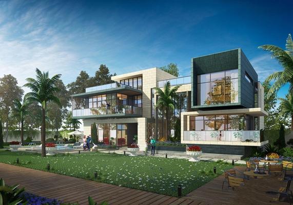 現代簡約建筑別墅3D模型【ID:528283451】