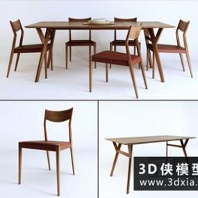现代餐桌椅组合国外3D模型【ID:729580747】