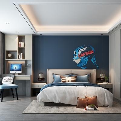 现代卧室男孩房3D模型【ID:127762300】