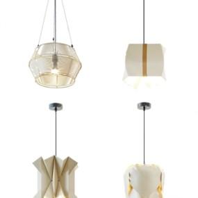 现代时尚简约金属吊灯组合3d模型【ID:528291885】
