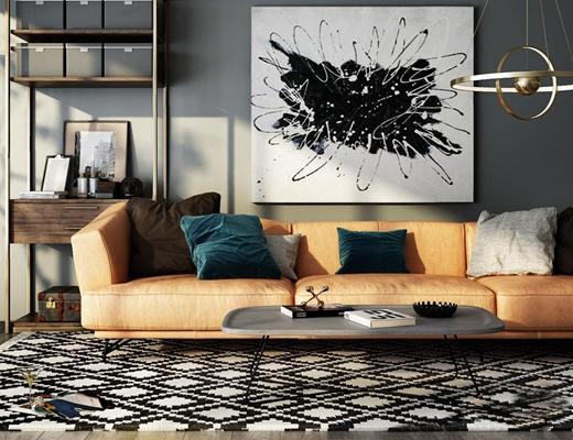 现代多人沙发茶几金属装饰架组合3d模型【ID:928349974】