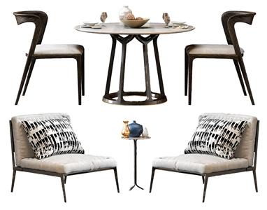 北欧单人沙发餐桌椅3D模型【ID:841633824】