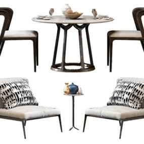 北歐單人沙發餐桌椅 3D模型【ID:841633824】