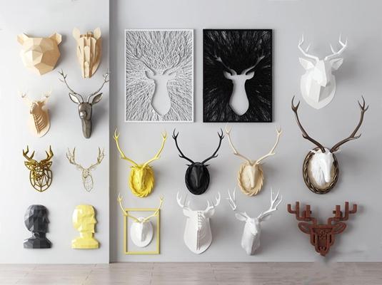 北歐墻飾鹿頭3D模型【ID:127876114】