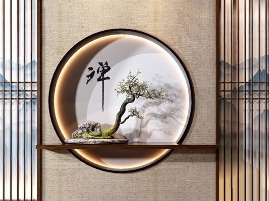 新中式玄關端景綠植組合3D模型【ID:328245882】