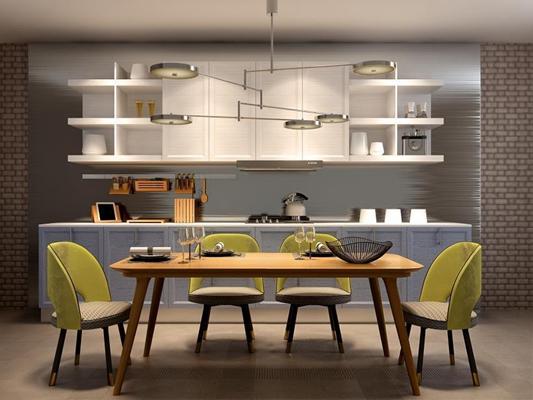 北欧现代橱柜餐桌椅吊灯组合3D模型【ID:828123506】