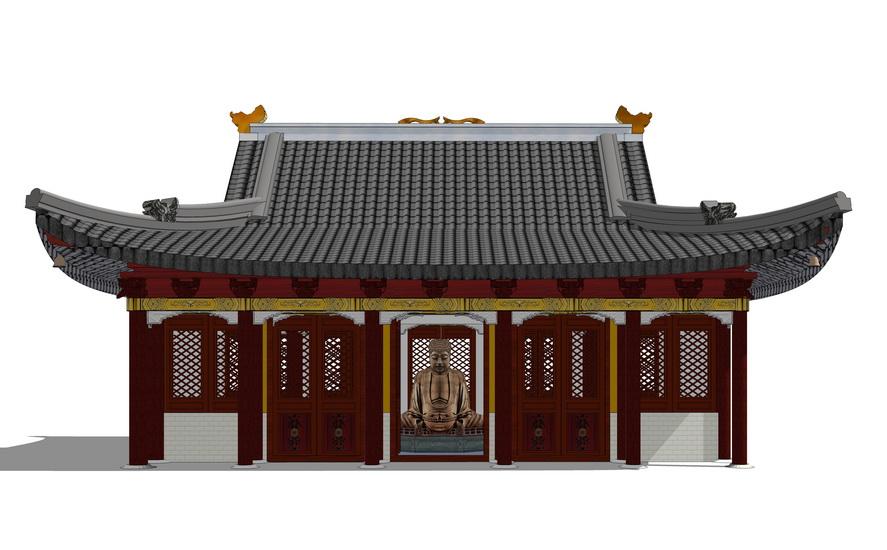 中式仿古建寺庙天王殿SU模型【ID:836349648】