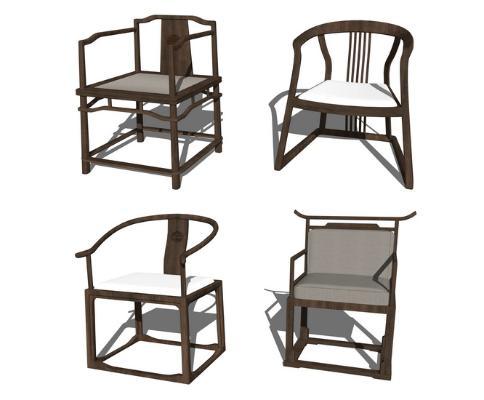 中式圈椅休闲椅子组合SU模型【ID:947329491】