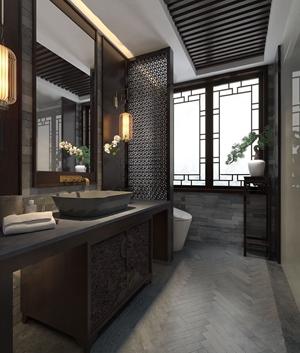 中式卫生间 中式卫浴 卫浴柜 柜子 角几