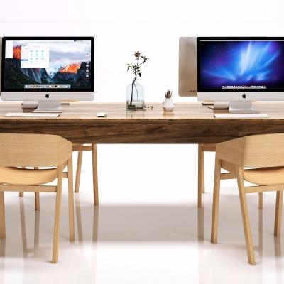 新中式實木辦公桌椅組合3D模型【ID:628458646】