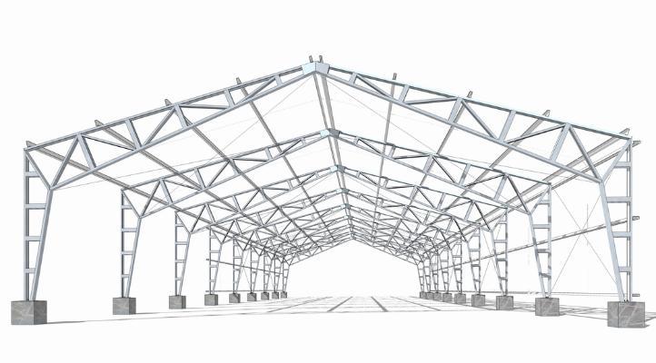 鋼結構框架工業廠房SU模型【ID:846369074】