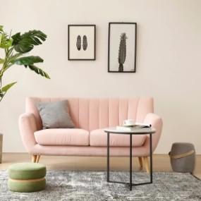 北欧布艺双人沙发边几组合3D模型【ID:927816753】