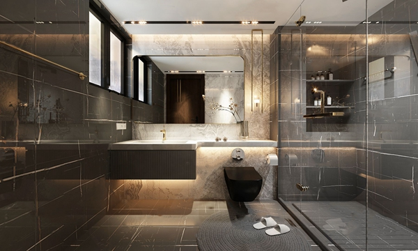 現代衛生間浴室3D模型【ID:547405581】