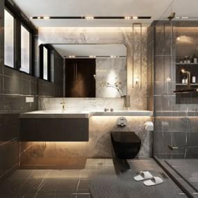 现代卫生间浴室3d模型【ID:547405581】