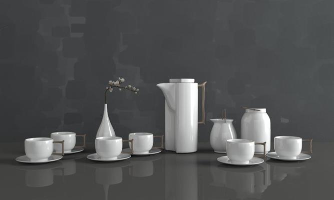 新中式茶具組合3D模型【ID:127871008】