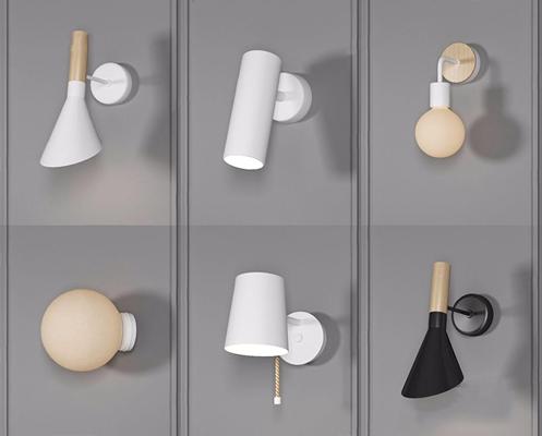 現代壁燈組合3D模型【ID:528275909】