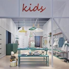 现代儿童服装专卖店3D模型【ID:528032451】