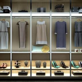 高精度品牌裙子鞋子包衣帽间3D模型【ID:828126791】