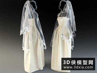 婚紗禮服與頭紗模型國外3D模型【ID:929346629】