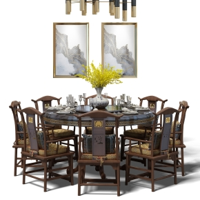 中式實木圓形餐桌椅餐具吊燈組合3D模型【ID:327783477】