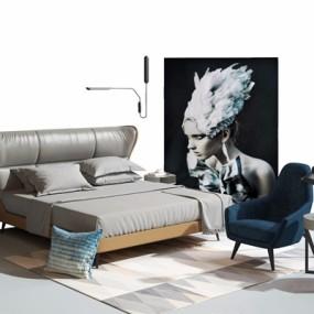 现代床具软装组合3D模型【ID:328116571】