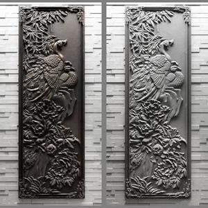 新中式砖雕孔雀3D模型【ID:341356160】