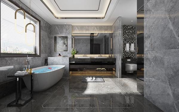 現代高級灰衛生間浴室3D模型【ID:545512538】