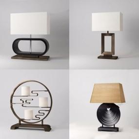 新中式台灯组合3D模型【ID:628050160】