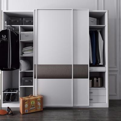 现代白色多功能衣柜3D模型【ID:927838946】