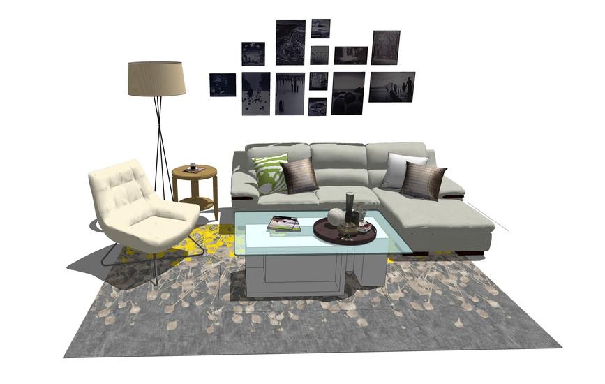 現代客廳沙發茶幾落地燈組合SU模型【ID:436350189】