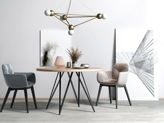 現代北歐餐桌椅3D模型【ID:327926639】
